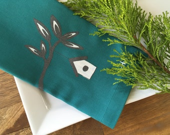 Set of 4 Teal Cloth Napkins with Screen Printed Branch and Birdhouse