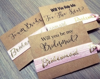 Will You Be My Bridesmaid Hair Tie Favors | Bachelorette Party Favors | Bridesmaid Proposal | Pink Hair Tie Favors