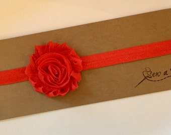 Red Headband, Red Flower Headband, Flower Headband, Baby Toddler Girl Headband, Red Bow