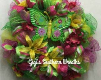 CLEARANCE SALE, Spring/Summer Yellow Lily Deco Mesh Wreath, Pink, Lime and Yellow Deco Mesh Wreath, Yellow Lily Wreath 149