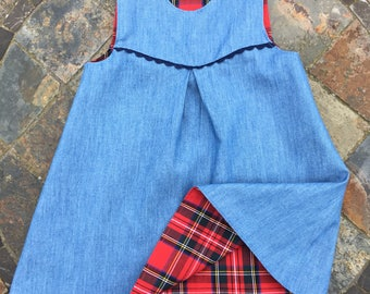 Reversible Red Tartan (Royal Stewart) and denim Dress
