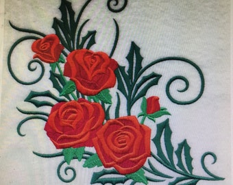 """Embroidered """"Beautiful Rose Spray"""" Shirt"""