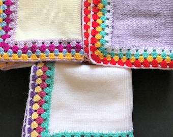 """Made To Order Gumdrop Blanket/ Handmade Knitted and Crochet Baby Blanket 32""""x 32"""""""