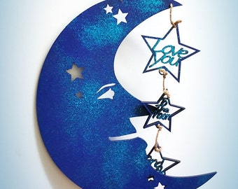 Blue Glittered Nursery Hanger Moon and Stars Love You to the Moon and Back Boys Gift