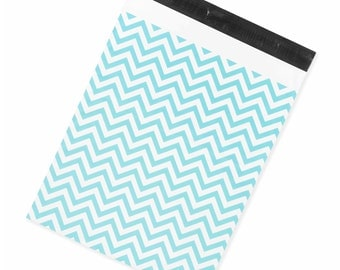 """Blue Chevron 14.5x19"""" Large Printed Poly Mailers - Pack of 50 - FREE SHIPPING"""