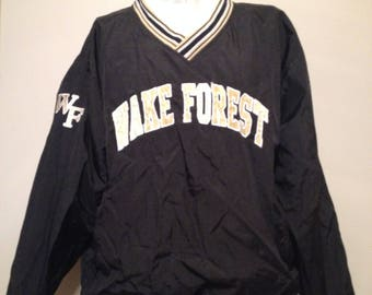 Vintage 90's Wake Forest Champion Windbreaker Pull Over Size Large NCAA College Basketball