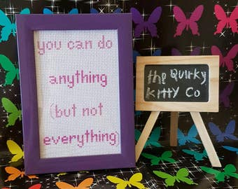 You can do Anything but not Everything framed cross stitch