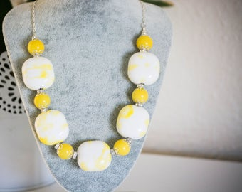 SALE! 50% OFF EVERYTHING! Bold Yellow Necklace - Big and Bold, statement yellow necklace, chunky necklace, colourful, glass beads