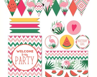 Tropical Flamingo Party Printables Set