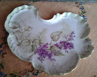 Jean Pouyat Limoges France porcelain tray, hand painted and signed by artist