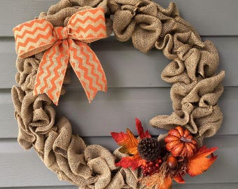 Fall Burlap Wreath, Autumn Wreath, Fall Wreath for Front Door, Burlap Wreath, Chevron Wreath, Thanksgiving Wreath, Fall Autumn Decor