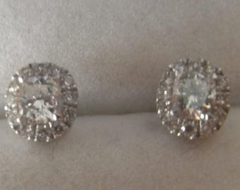 Wonderful Antique Diamond Cluster Stud Earrings in 18ct White Gold