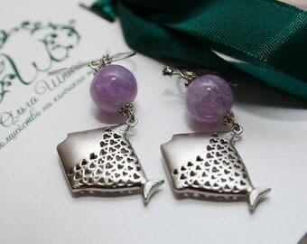 amethyst earrings amethyst jewelry purple earrings dangle earrings gemstone earrings earrings silver earrings long earrings boho earrings