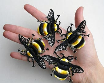 Moks33(p) 4 pieces Bumblebee Insect Embroidery Patch