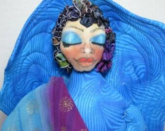 Angel Cloth Art Doll, Fantasy Fairy Shelf Sitter