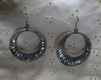 Large Hoop Earrings with irredescent beads