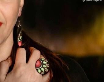 Big ring and earrings set, modern ring, handmade jewelry polymer clay jewelry set black colorful geometric jewelry, mandala jewelry