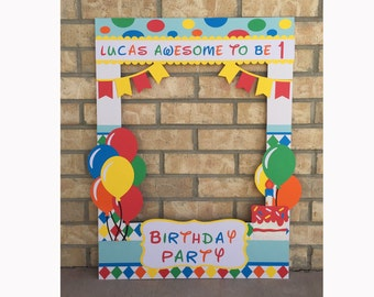 Giant photo booth birthday prop rainbow colors with balloons, polka dots and custom message