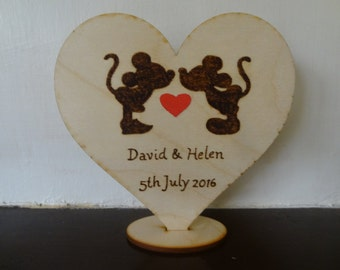 Rustic wedding cake topper Disney Mickey & Minnie, Unique Wedding gift, Country wedding, Personalized wood heart, PYROGRAPHY