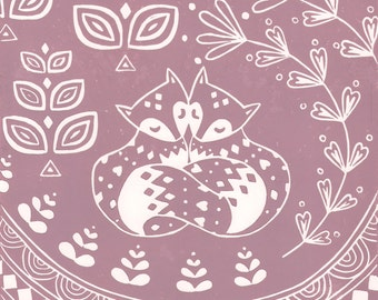 Daniel and Rosie Fox in dusky pink, limited edition linocut print