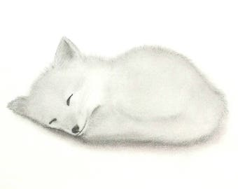 Woodland Animal Nursery Original Art, Sleeping Fox Nursery Illustration, Baby Fox Art, Black and White from pencil drawing, Cute Fox Art