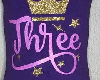 Birthday outfit - birthday leotard - girls birthday shirt - birthday crown - gymnastics birthday - toddler leotard - girls leotard