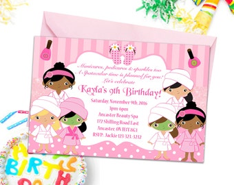 Spa Party Invitations, Girls Party Invites, Kids Birthday Party Invitations, Spa Invitations, Beauty Salon Invitations, Kids Party Printable