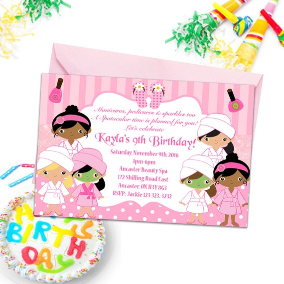 Wellness gutschein comic  Wellness-Party-Einladungen Mädchen Party einlädt Kinder