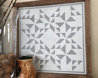 Mini Barn Quilt nursery wooden hand painted framed gray grey and white