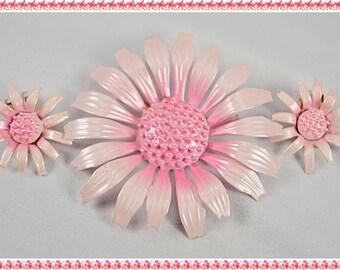 Vintage 50s 60s Pink Enamel Flower Brooch/Pin and Clip-on Earrings