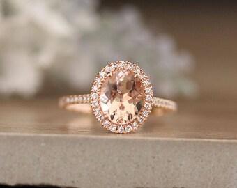 Oval Morganite Engagement Ring, Diamond Halo Ring, Diamond Half Eternity Band, 10x8mm Morganite Oval Ring, 14k Rose Gold Diamond Ring