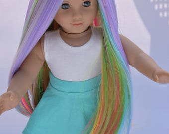 "Custom Doll Wig 10-11"" Rainbow Heat Safe fits Gotz Journey Girls American girl doll Color - Starlight Starbright @EDD"