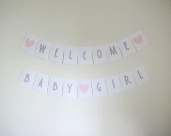 Welcome Baby Girl Banner Set