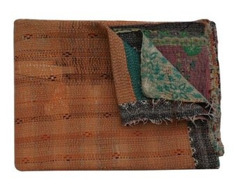 Handmade Vintage Kantha Quilt/Throws, Vintage Kantha Quilt handmade quilt kantha throw, coverlet/Decorative Quilts/Ethnic throws