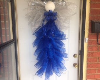 DecoMesh Angel Tree Topper,  Angel Wreath, Angel tree topper