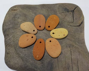 7 Top Drilled Beach Brick Pottery Pebbles , Sea Brick Pottery Beads, Drilled Terracotta Pottery - Terracotta Pendants  #41