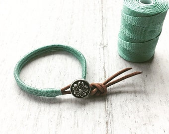 Womens Leather Wrap Bracelet celadon green- Boho wrap bracelet, wrap bracelet, womens leather bracelet, womens bracelet, stackable bracelet