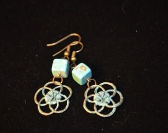 Sweet, feminine boho bronze patina floral dangle earrings