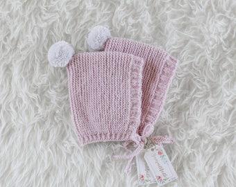 Bonnet Violet, Pixie Bonnet, Hand Knit Baby Hat, Pixie Hat, 0-3 months