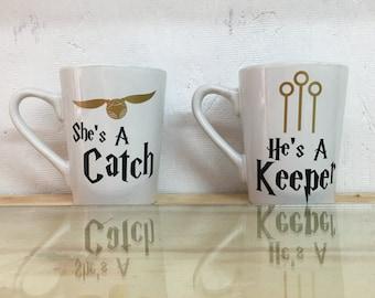 Harry Potter Mug Set | She's a catch Mug | He's a keeper Mug | Harry Potter couples mug set