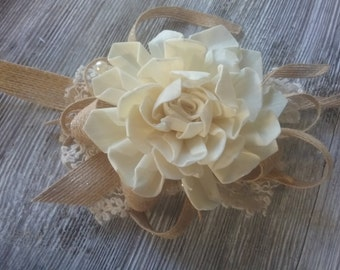 Sola Flower Wrist Corsage, Gardenia Wrist Corsage, Sola Flower Wedding, Rustic Wedding