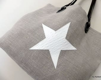 tote bag in linen with star Faux Croc