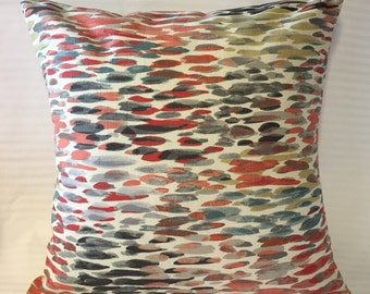 "Orange and Gray ""Raindrop"" Print Pillow Cover"