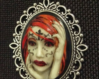 Zombie/sugar/Gothic girl cameo necklace