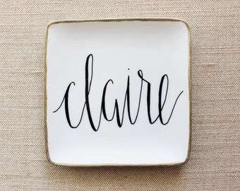 Modern Calligraphy Name Ring Dish with Gold Rim