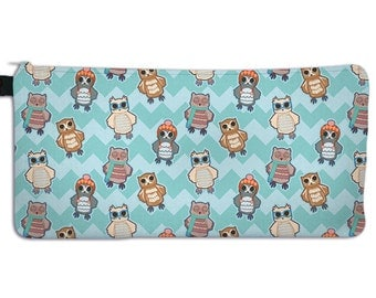 Owl Pencil Case Owl Print Make Up Bag Teal Owls in Hats Nerd Owl Cosmetic Bag ***MTO***