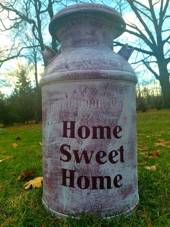 Refinished Vintage Milk Can. Home Sweet Home decor. Front porch decor. Farmhouse style. Distressed and unique country decor!