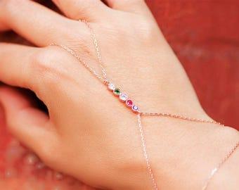 Slave Bracelet, Hand Bracelet, Silver Hand Chain, Bracelet Ring, Personalized Jewelry, Hand Jewelry, Birthstone Jewelry, Gold Hand Bracelet