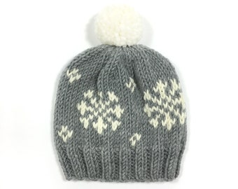 knit winter fair isle pattern pompom hat beanie toque men women unisex wool // The Snowflake Hat