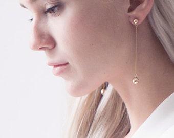 Minimalist Style Modern Long Earrings,Gold Long Earrings,14K Gold filled